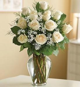 12 White Roses  Long Stem Roses