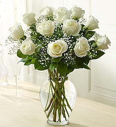 12 White Roses Vase Rose Arrangement