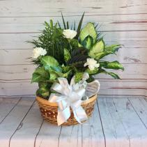 "12"" Wicker with Bow, Fresh Cut Flowers & Angel"