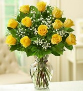 12 YELLOW ROSES LONG STEM