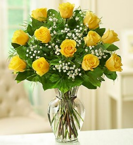 12 Yellow Roses Arranged