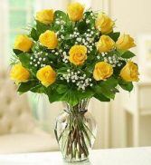 12 Yellow Roses Vase Arrangement