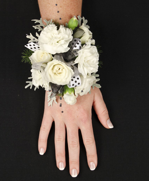 WHITE DELIGHT Prom Corsage in Spotsylvania, VA | Walker's Flowers & More