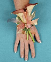 ELEGANT APRICOT CALLA Prom Corsage