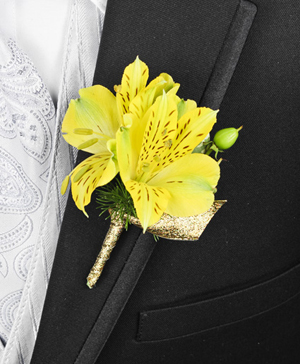 SPRING SUNSHINE Prom Boutonniere in Port Dover, ON | Upsy Daisy Floral Studio
