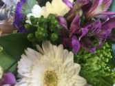 126 Purple,whites and lime greens - not arranged in a vase