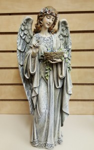 Angel With Birdnest Statue 14""