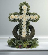 WHITE ROSE ACCENTED CROSS sf-10-21