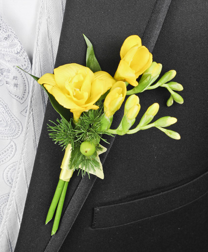 GLOWING YELLOW Prom Boutonniere