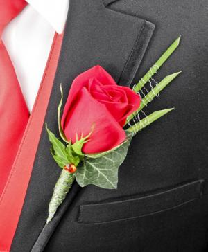 ROMANTIC RED ROSE Prom Boutonniere in Riverside, CA | Willow Branch Florist of Riverside
