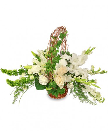 Serenity flower basket in white plains md creative expressions serenity flower basket mightylinksfo Choice Image