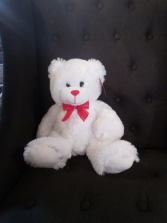 """14"""" White bear with red bow"""