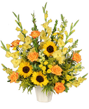 Golden Goodbye Funeral Arrangement in Hillsboro, OR | FLOWERS BY BURKHARDT'S