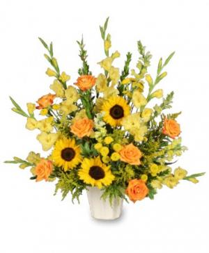 Golden Goodbye Funeral Arrangement in Anderson, SC | NATURE'S CORNER FLORIST
