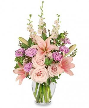 PINK PARADISE Flower Arrangement in Rochelle, IL | COLONIAL FLOWERS AND GIFTS