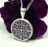Round Pendant with Filigree Inlay