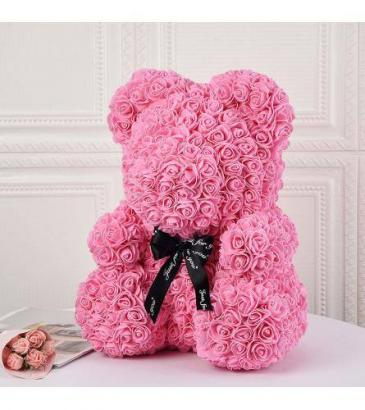 14inch Pink Rose Bear With Box Pink Rose Bear