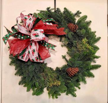 14X23 Fresh Christmas Wreath