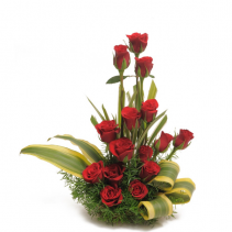 15 Red Roses  and Aspidistra Rose