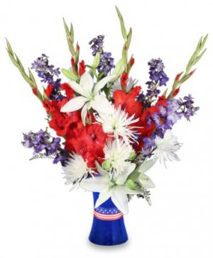 RED WHITE & TRUE BLUE Floral Arrangement in Richland, WA | ARLENE'S FLOWERS AND GIFTS