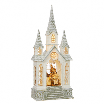 "16.25"" Nativity Lighted Water Church SOLD OUT"