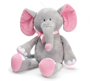 "16"" Pink & Gray Elephant Gift"