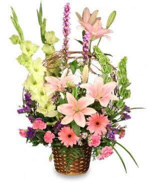 Basket of Memories Floral Arrangement in Worthington, OH | UP-TOWNE FLOWERS & GIFT SHOPPE