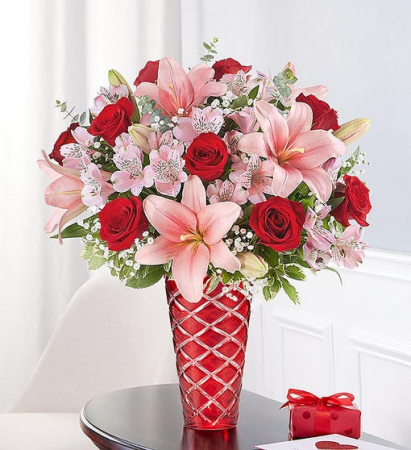 176326 KEY TO MY HEART **RED CUT VASE