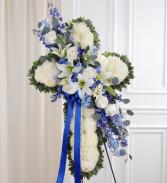176970Peace & Prayers Blue & White standing cross