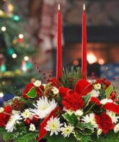 Classic Christmas Centerpiece Fresh Fragrant evergreens, candlelight & holiday colored flowers