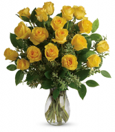 18 Exciting Yellow  Rose Arrangement