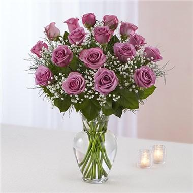 1 ½ Dozen Lavender Roses Vase Arrangement