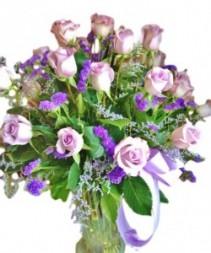 18 Lavender Roses  Arrangement