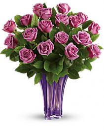 Lavender Splendor Roses  18 Roses Luxurious Vase