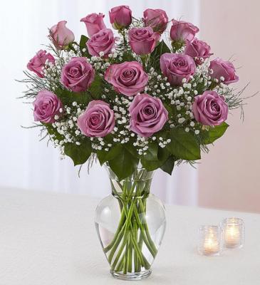 18 Lavender Roses Rose Vase