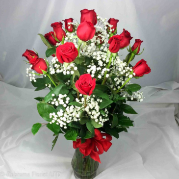18 LONG STEM RED ROSES ARRANGED Other colors also available