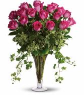 18 Pink Roses in large trumpet vase