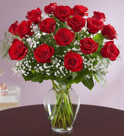 18 Premium Long Stem Red Roses Vase Arrangement
