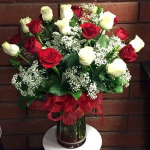 18 Red and white roses  Perfect for Mom! in Ozone Park, NY | Heavenly Florist