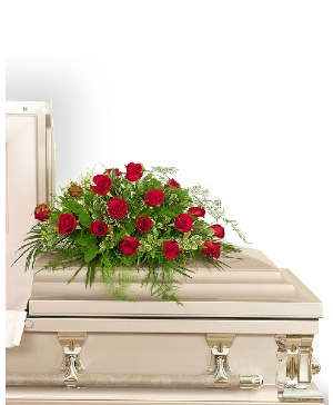 18 Red Roses Casket Spray Sympathy in Nevada, IA | Flower Bed