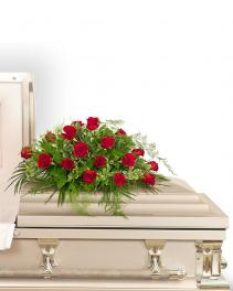 18 Red Roses Casket Spray Sympathy Arrangement