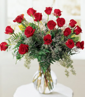 18 Red Roses In A Vase Valentine's Day