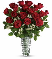 18 Red Roses in Crystal Swirl vase