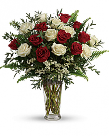 18 Red & White Roses Arrangement