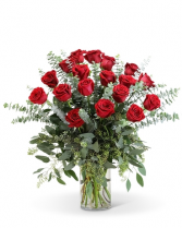 18 Roses Any Color Vased Arrangement