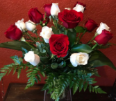 18 Roses  red and white roses in vase