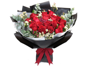 18 stems of Red Roses with Aria signature wrapping **FREE BOX OF CHOCOLATE** in Vancouver, BC | ARIA FLORIST