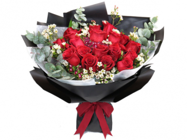 18 stems of Red Roses with Aria signature wrapping **FREE 8 PCS OF FERRERO BOX OF CHOCOLATE**