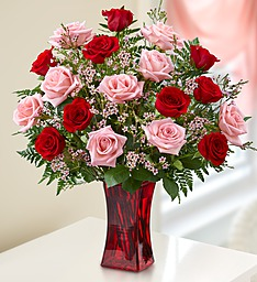 18 Mixed Red and Pink  Roses