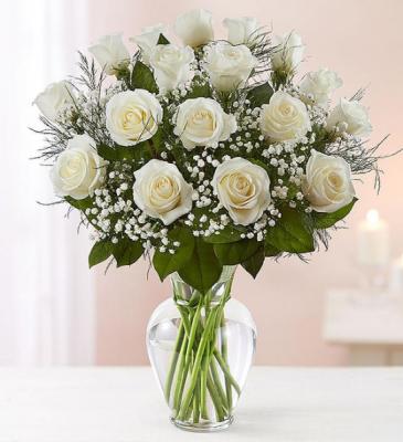 18 White Roses Rose Vase
